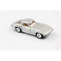 Gri 1963 Corvette Sting Ray 1/36 Çek Bırak Die-Cast Model Araç