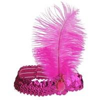 Pandoli Pembe Renk Çarliston Tüylü Saç Bandı
