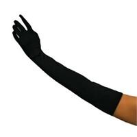 Pandoli Uzun Boy Yetişkin Saten Eldiven Siyah Renk