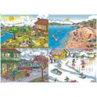 Eksen 35 Parça 4'Lü Ahşap Puzzle Seti (Mevsimler)