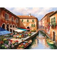 Art Puzzle 1000 Parça Puzzle Flower Market On The Canal