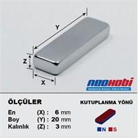 Neodyum Mıknatıs Blok 20x6x3 mm (20`li Paket)