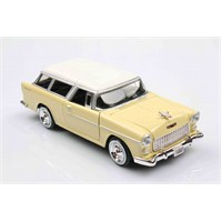 Motomax Krem 1955 Chevy Bel Air Chevrolet Nomad 1/24 Die Cast Model Araç