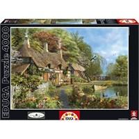 Educa 4000 Parçalık Puzzle Nehir Kıyısında Çiçekli Ev