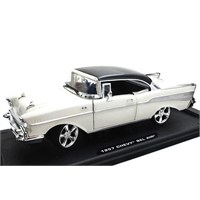 Motormax 1:18 1957 Chevy Bel Air Diecast -Krem Model Araba