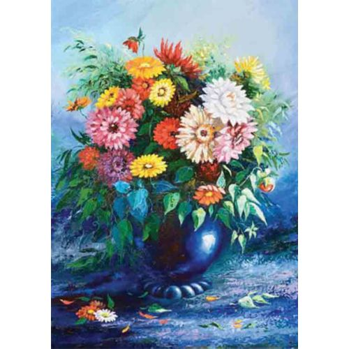 Gold Puzzle 500 Parça Mavi Vazoda Çiçekler Puzzle
