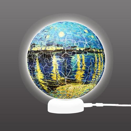 Pintoo Rhone'de Yıldızlı Gece Van Gogh 3D Işıklı Küre Plastik Puzzle 60 Parça