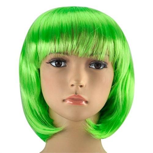 Pandoli Yeşil Renk Parti Peruğu Küt Saç