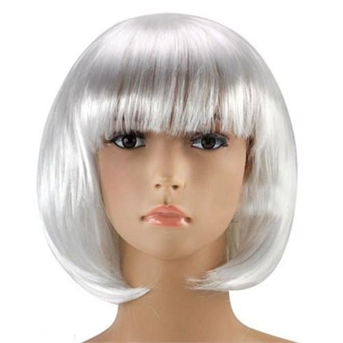 Pandoli Beyaz Renk Parti Peruğu Küt Saç