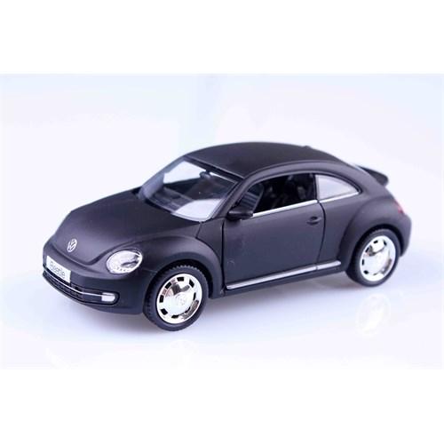 Mat Siyah Volkswagen New Beetle 1/32 Çek Bırak Die Cast Model Araç