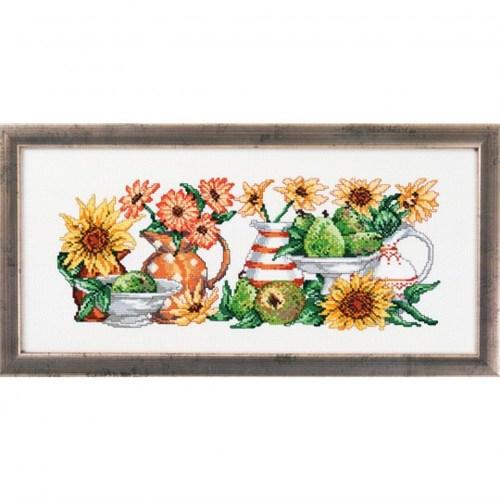 Permin 38X17 Sarı Çiçek Desenli Etamin Kiti - 125186