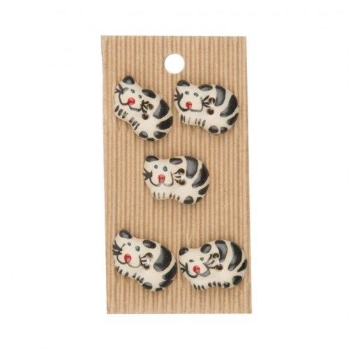Buttonmad Siyah Beyaz Kedicik Seramik Düğme - L034
