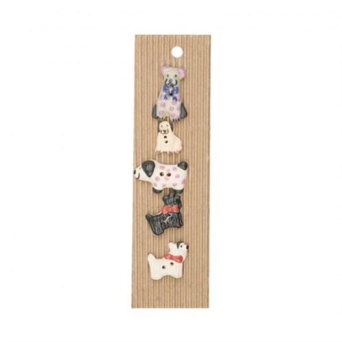 Buttonmad Karışık Renk Köpekler Seramik Düğme - L043