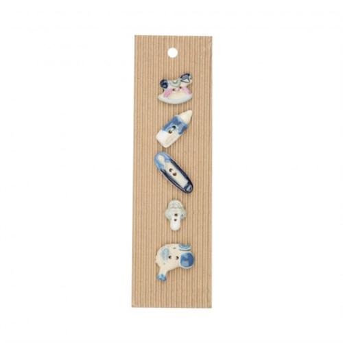 Buttonmad Mavi Erkek Bebek Seramik Düğme - L160