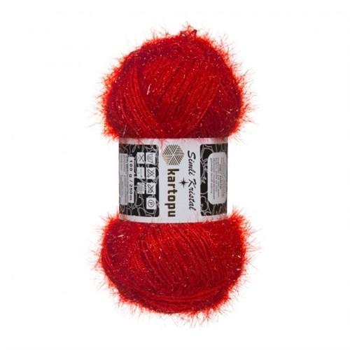 Kartopu Simli Kristal Kırmızı El Örgü İpi - K160