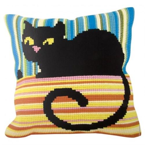 Collection D'art 40X40 Cm Kara Kedi Desenli Goblen Yastık Kiti