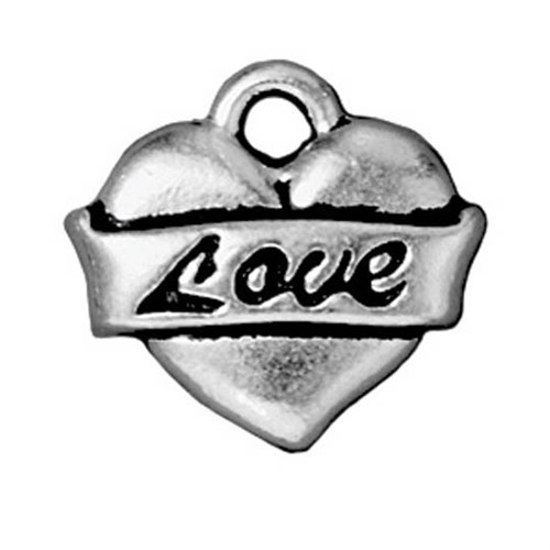 Tierra Cast 1 Adet 14X15 Mm Gümüş Rengi Love Takı Aksesuarı - 94-2302-12