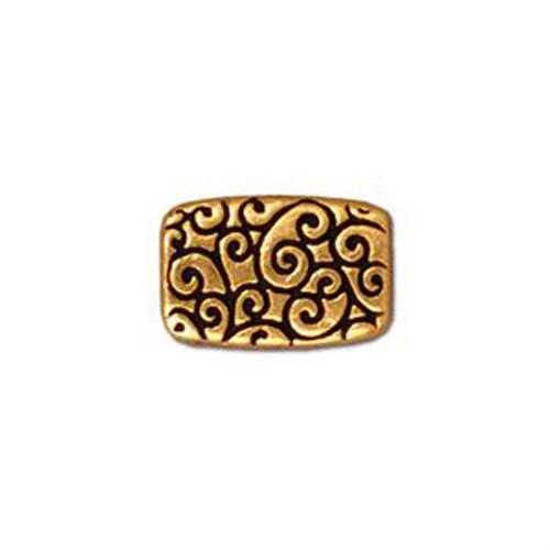 Tierra Cast Metal 1 Adet 13.75X9 Mm Altın Rengi Geniş Delikli Dikdörtgen Aksesuar Boncuk - 94-5670-2