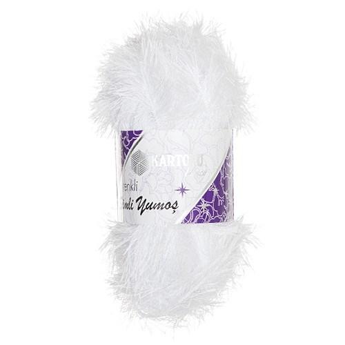 Kartopu Renkli Simli Yumoş Beyaz El Örgü İpi - Kf162