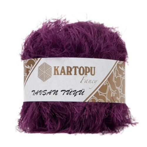 Kartopu Tavşan Tüyü Mor El Örgü İpi - Kf3008