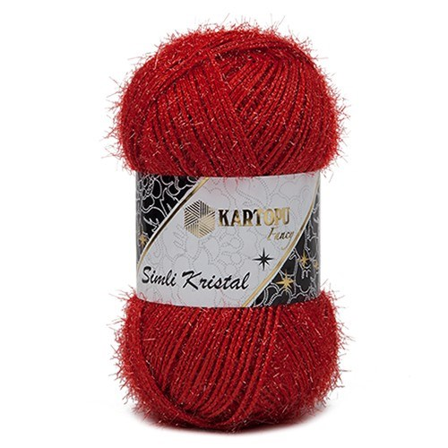 Kartopu Simli Kristal Kırmızı El Örgü İpi - K150