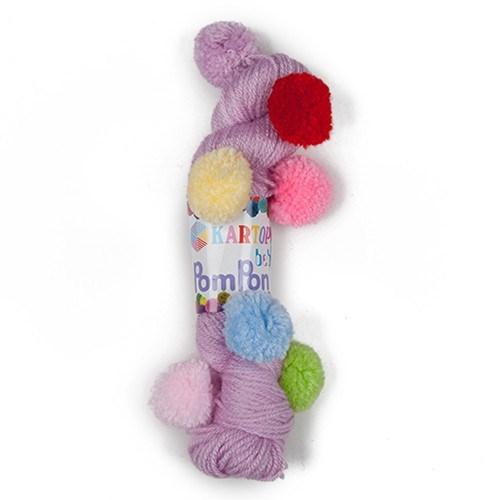 Kartopu Bebe Pompon Mor Bebek Yünü - K705