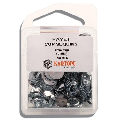 Kartopu 8 Mm Gümüş Payet - 02.100