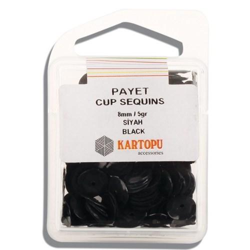 Kartopu 8 Mm Siyah Payet - 02.105