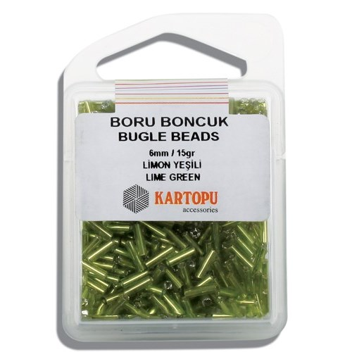 Kartopu 6 Mm Limon Yeşili Boru Boncuk - 04.115