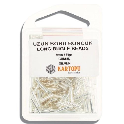 Kartopu 9 Mm Gümüş Uzun Boru Boncuk - 05.100