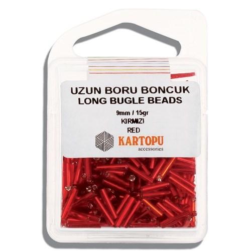 Kartopu 9 Mm Kırmızı Uzun Boru Boncuk - 05.102