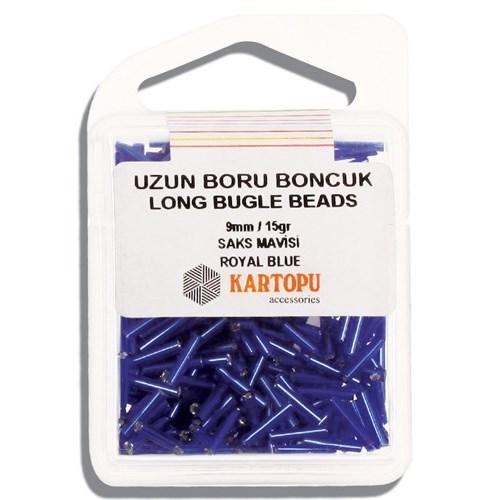 Kartopu 9 Mm Saks Mavi Uzun Boru Boncuk - 05.104