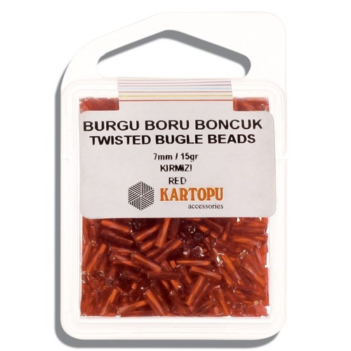 Kartopu 7 Mm Kırmızı Burgu Boru Boncuk - 06.102