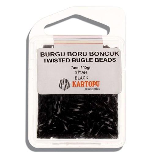 Kartopu 7 Mm Siyah Burgu Boru Boncuk - 06.105