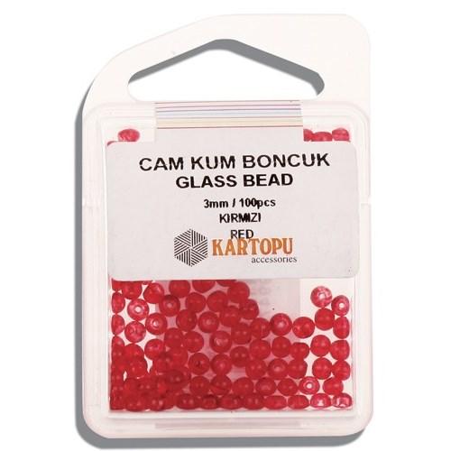 Kartopu 3 Mm Kırmızı Cam Kum Boncuk - 10.102