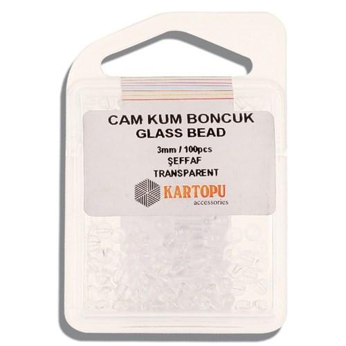Kartopu 3 Mm Şeffaf Cam Kum Boncuk - 10.108