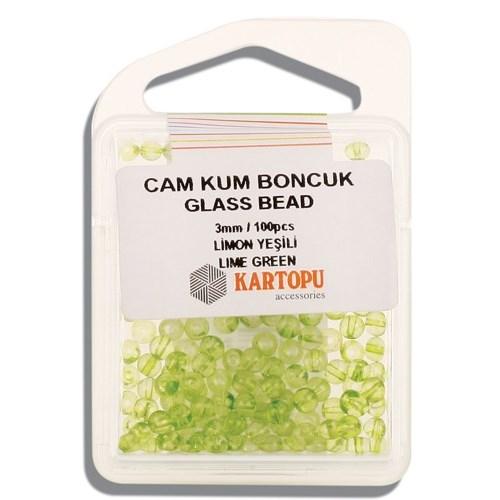 Kartopu 3 Mm Limon Yeşili Cam Kum Boncuk - 10.115