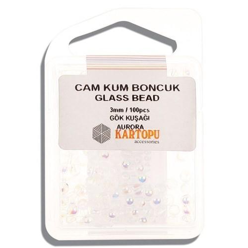 Kartopu 3 Mm Gökkuşağı Cam Kum Boncuk - 10.127