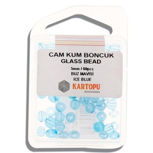 Kartopu 5 Mm Buz Mavisi Cam Kum Boncuk - 12.112