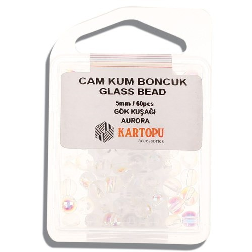 Kartopu 5 Mm Gökkuşağı Cam Kum Boncuk - 12.127
