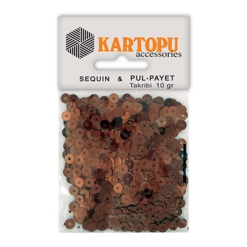 Kartopu Kahverengi Yuvarlak Figürel Pul Payet - Pp2