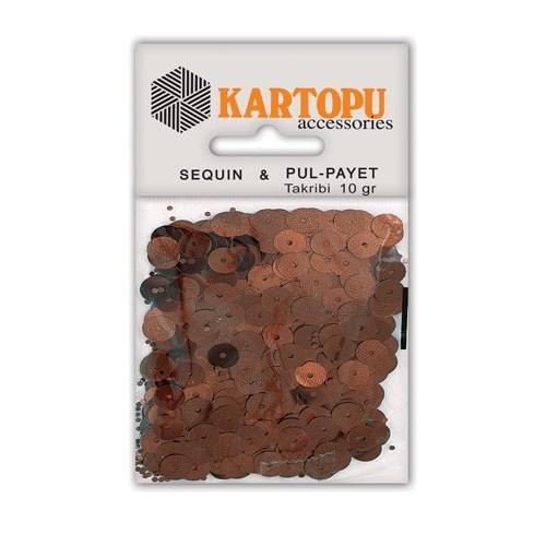 Kartopu Kahverengi Yuvarlak Figürel Pul Payet - Pp3