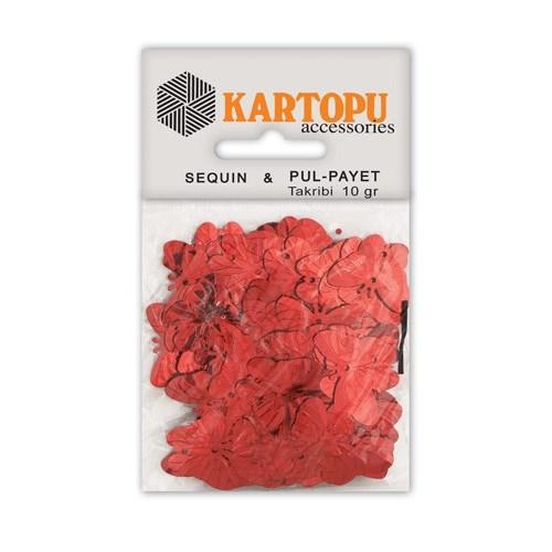 Kartopu Kırmızı Kelebek Figürlü Figürel Pul Payet - Pp5