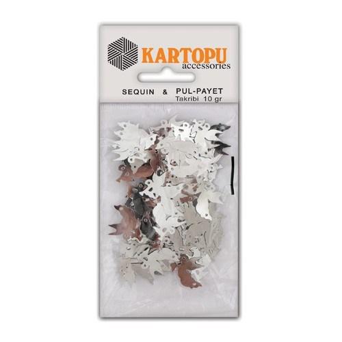Kartopu Gümüş Kuş Figürlü Figürel Pul Payet - Pp6