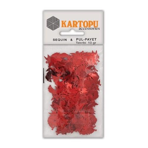 Kartopu Kırmızı Kuş Figürlü Figürel Pul Payet - Pp6
