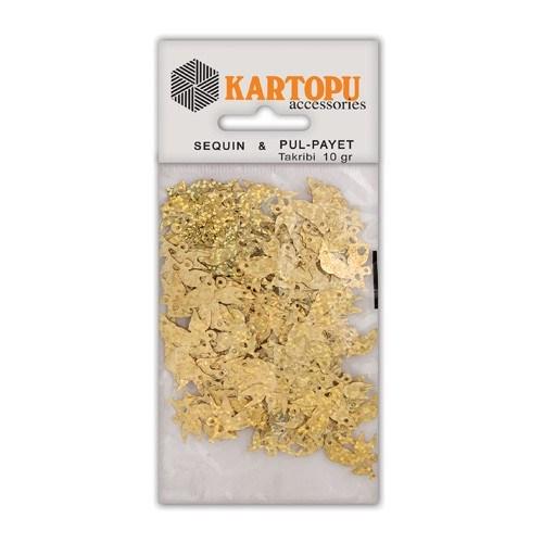 Kartopu Altın Janjan Kuş Figürlü Figürel Pul Payet - Pp6
