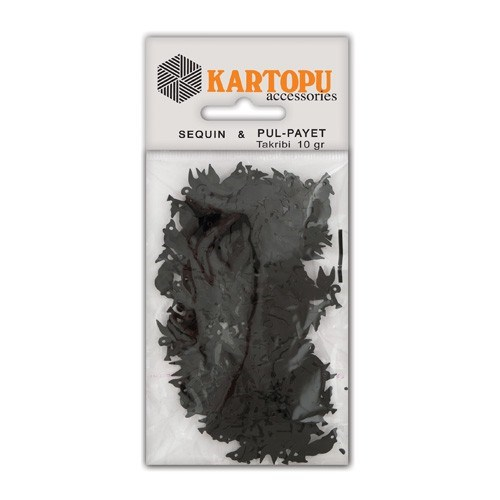 Kartopu Siyah Kuş Figürlü Figürel Pul Payet - Pp6
