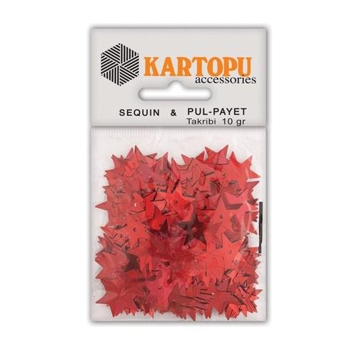 Kartopu Kırmızı Yıldız Figürlü Figürel Pul Payet - Pp7