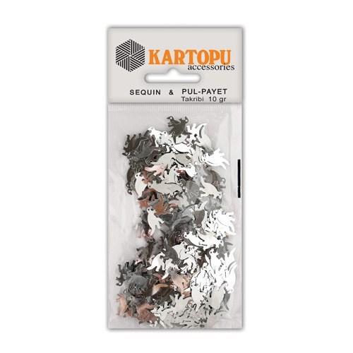 Kartopu Gümüş Dinazor Figürlü Figürel Pul Payet - Pp9