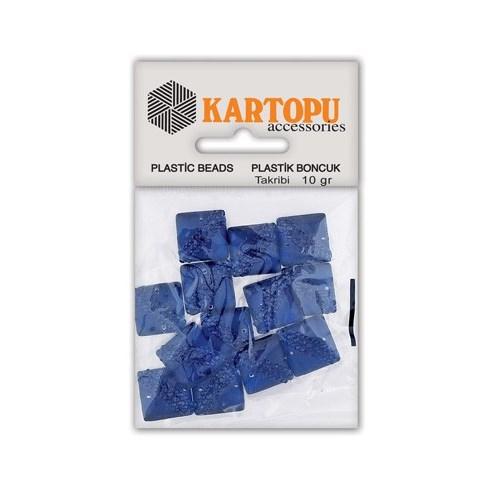 Kartopu Lacivert Kare Resin Taşı Dikilebilen Plastik Boncuk - Rt2
